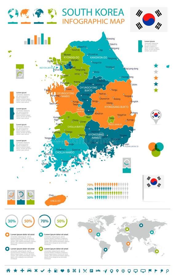Sydkorea - översikt och flagga - infographic illustration stock illustrationer