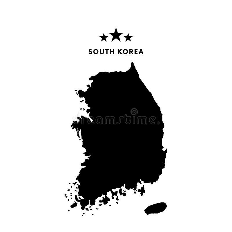 Sydkorea översikt också vektor för coreldrawillustration royaltyfri illustrationer