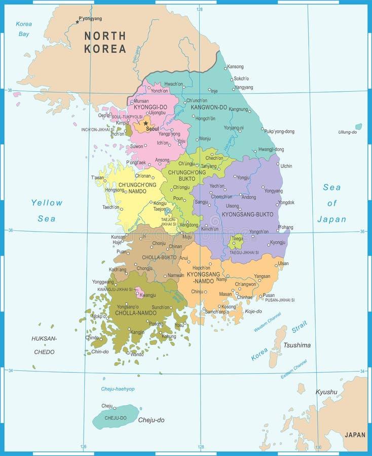 Sydkorea översikt - vektorillustration royaltyfri illustrationer
