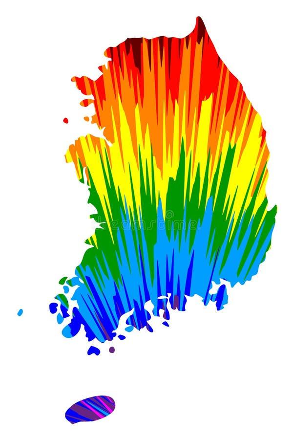 Sydkorea - översikten är den planlagda abstrakta färgrika modellen för regnbågen, den Republiken Korea ROK översikten gjorde av f stock illustrationer