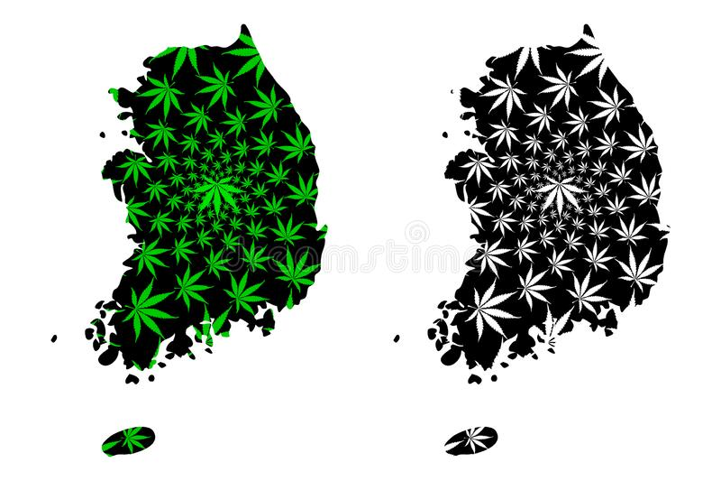 Sydkorea - översikten är det planlagda cannabisbladet stock illustrationer
