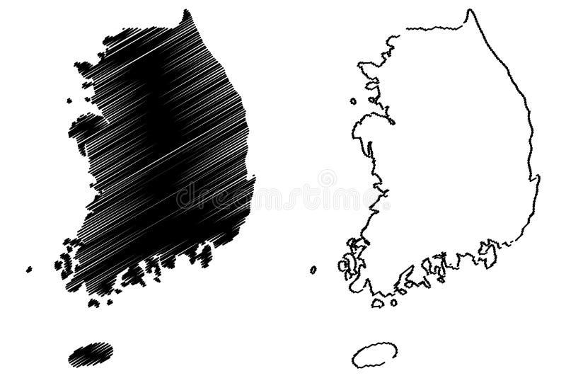Sydkorea översiktsvektor stock illustrationer
