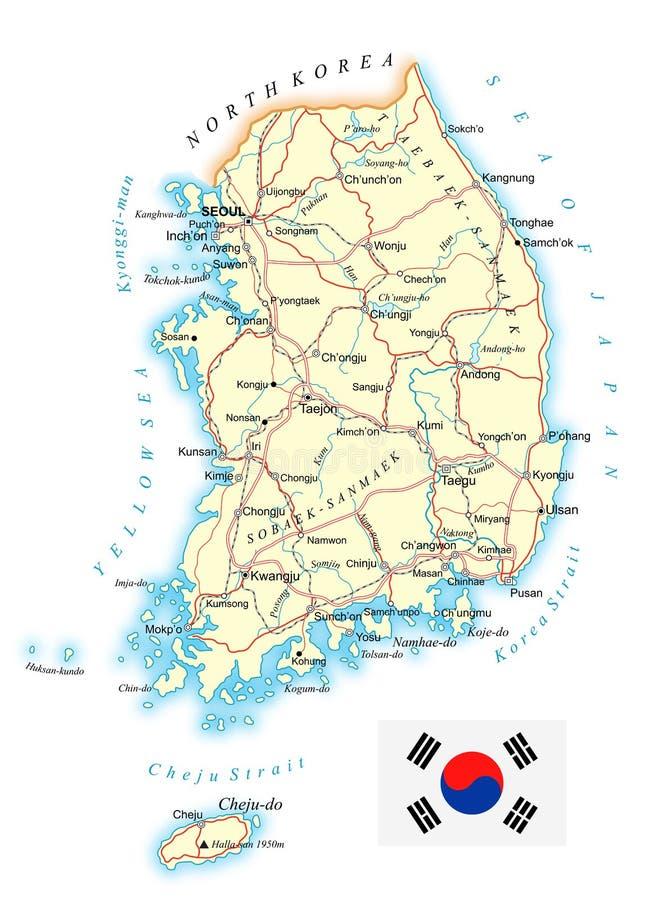 Sydkorea - detaljerad topographic översikt - illustration royaltyfri illustrationer