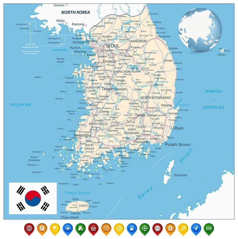 Sydkorea färdplan och färgrika översiktsmarkörer stock illustrationer