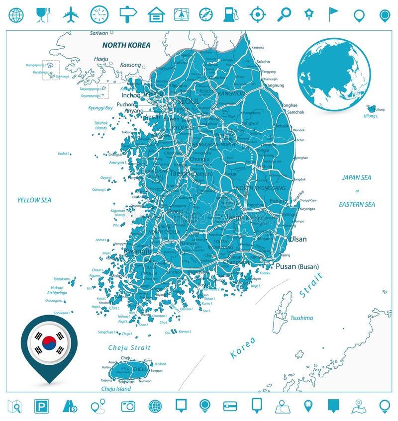 Sydkorea färdplan- och navigeringsymboler stock illustrationer