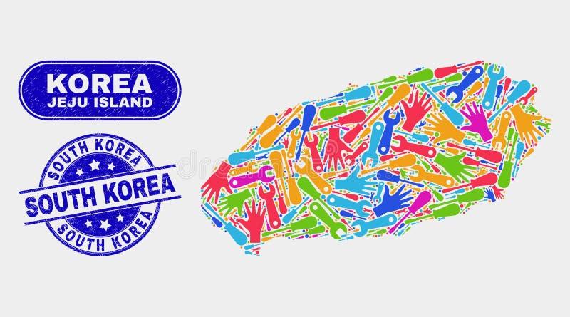 Sydkorea för översikt och för Grunge för serviceJeju ö stämplar vektor illustrationer