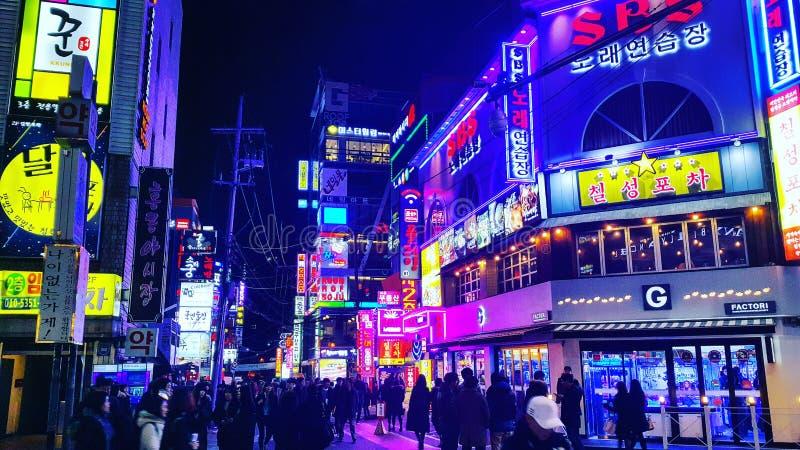 Sydkorea för Gangnam enorm nattsikt arkivbilder