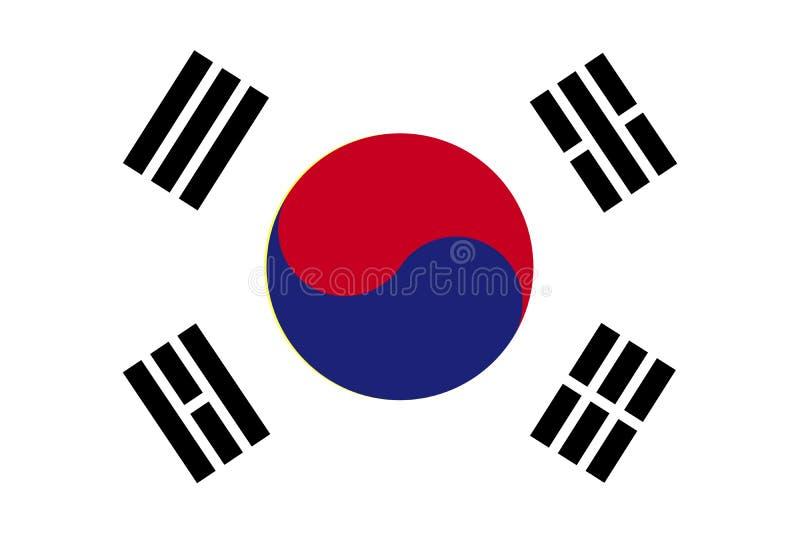 Sydkorea flagga också vektor för coreldrawillustration stock illustrationer