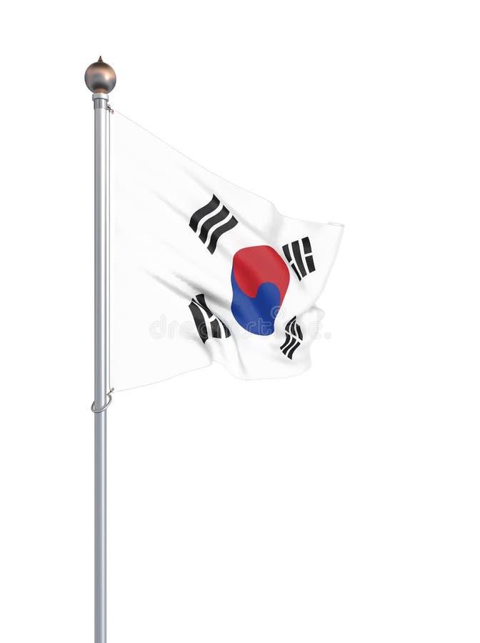 Sydkorea flagga som bl?ser i vinden f?nster f?r textur f?r bakgrundsdetalj tr?gammalt 3d tolkning, vinkande flagga Isolerat p? vi royaltyfri illustrationer