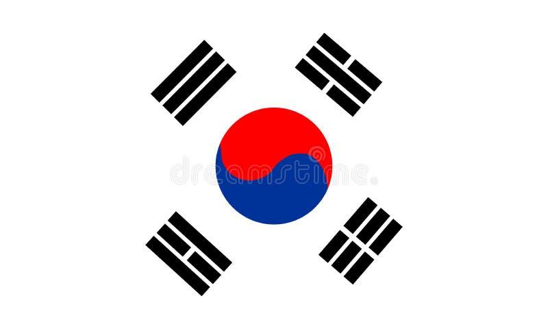 Sydkorea flagga som isoleras på vit bakgrund stock illustrationer