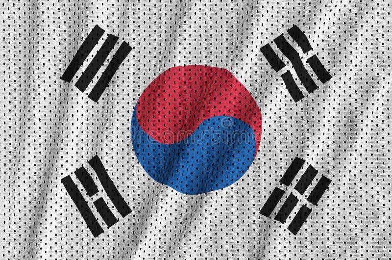 Sydkorea flagga som skrivs ut på en fa för ingrepp för polyesternylonsportswear royaltyfri foto