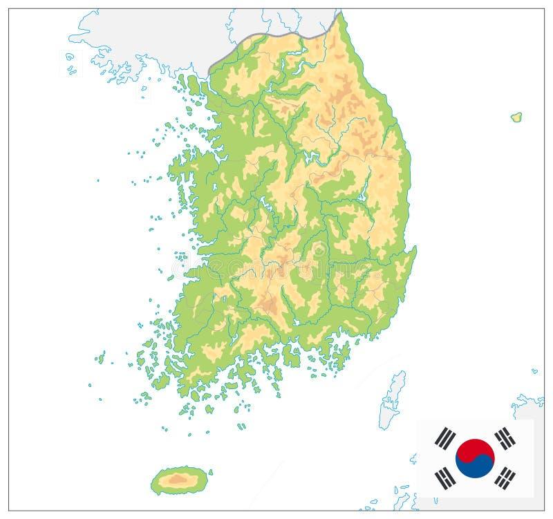 Sydkorea fysisk översikt På white ingen text vektor illustrationer