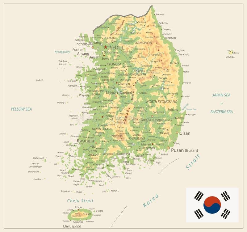 Sydkorea fysisk översikt som isoleras på Retro vit färg royaltyfri illustrationer