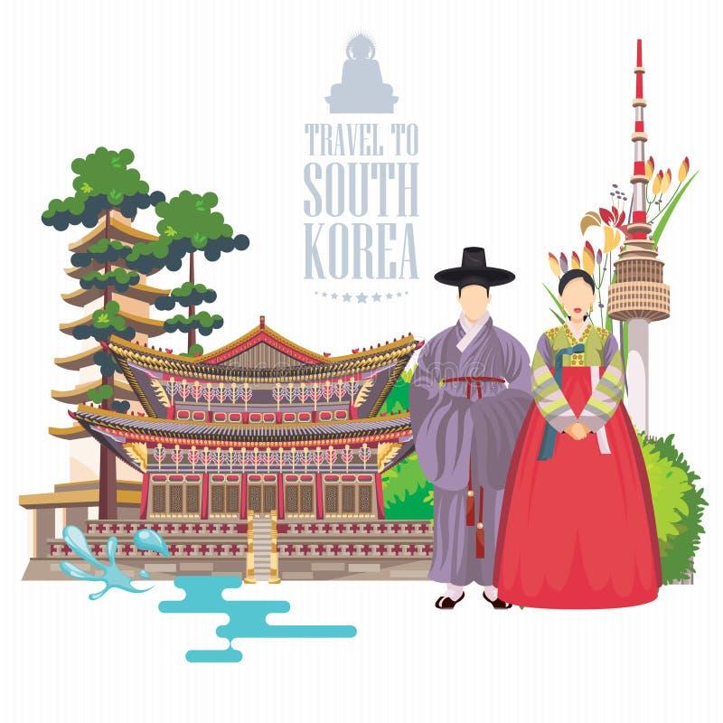 Sydkorea loppaffisch i ljus design Korea resabaner med koreanska objekt royaltyfri illustrationer