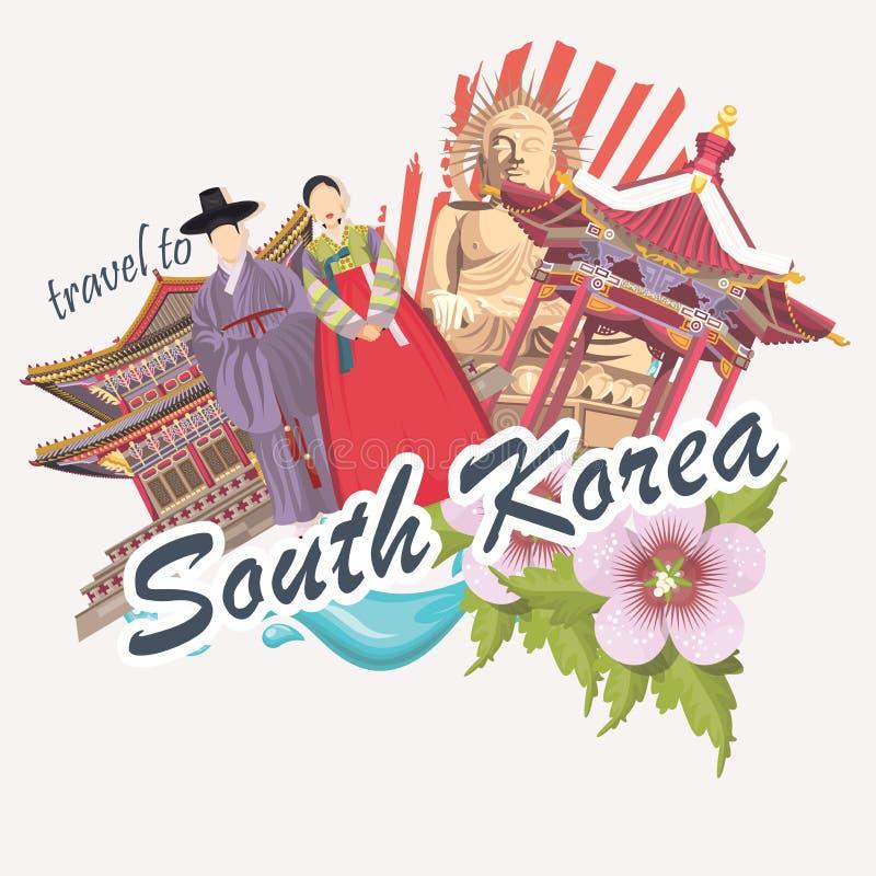 Sydkorea loppaffisch med blomman, pagoder, traditionskläder och tecken Korea resakort med koreanska objekt royaltyfri illustrationer