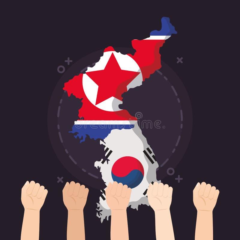 Sydkorea- och Nordkoreadesign stock illustrationer