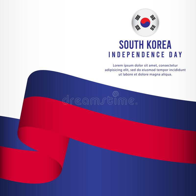 Sydkorea självständighetsdagenberöm, illustration för mall för vektor för fastställd design för baner vektor illustrationer