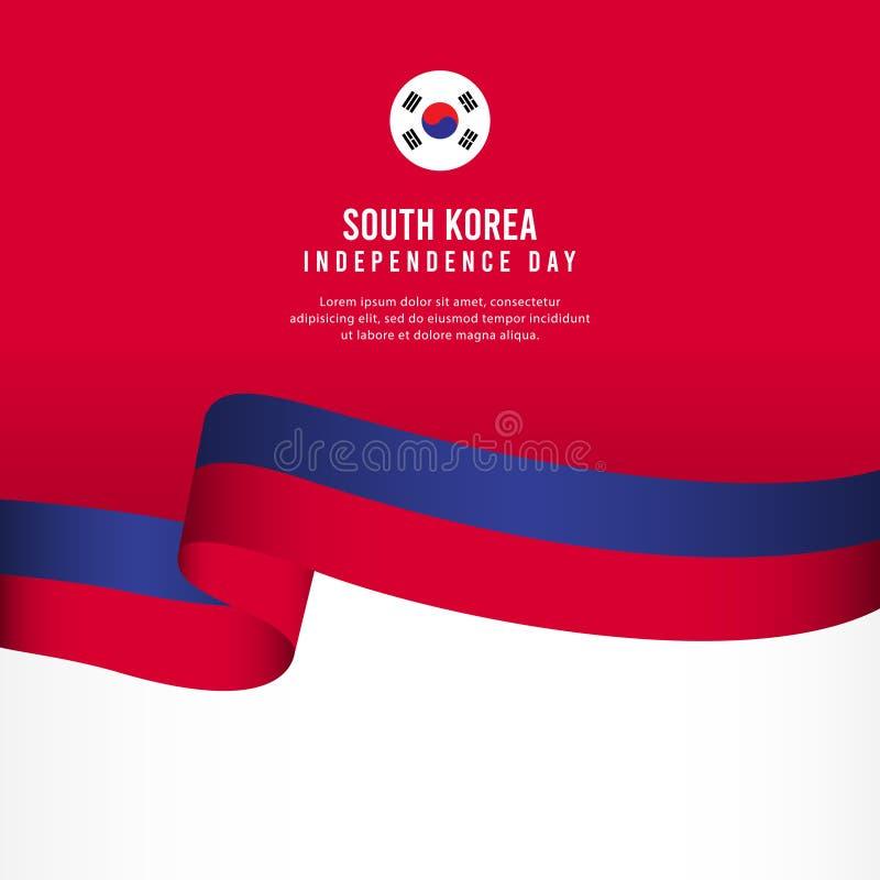 Sydkorea självständighetsdagenberöm, illustration för mall för vektor för fastställd design för baner stock illustrationer