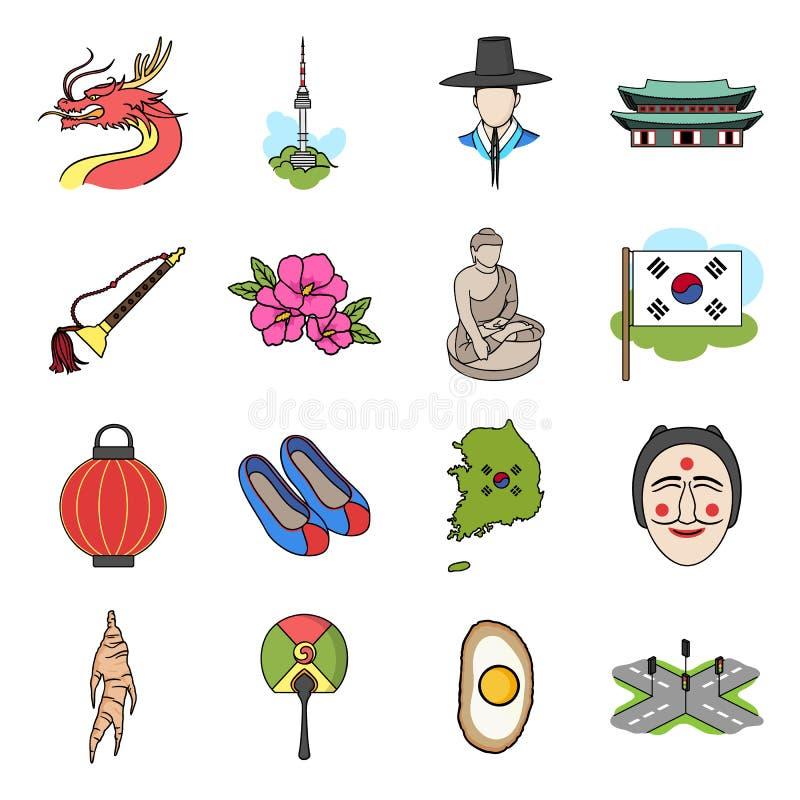Sydkorea uppsättningsymboler i tecknad filmstil Stor samling av symbolet för Sydkorea vektorillustration stock illustrationer