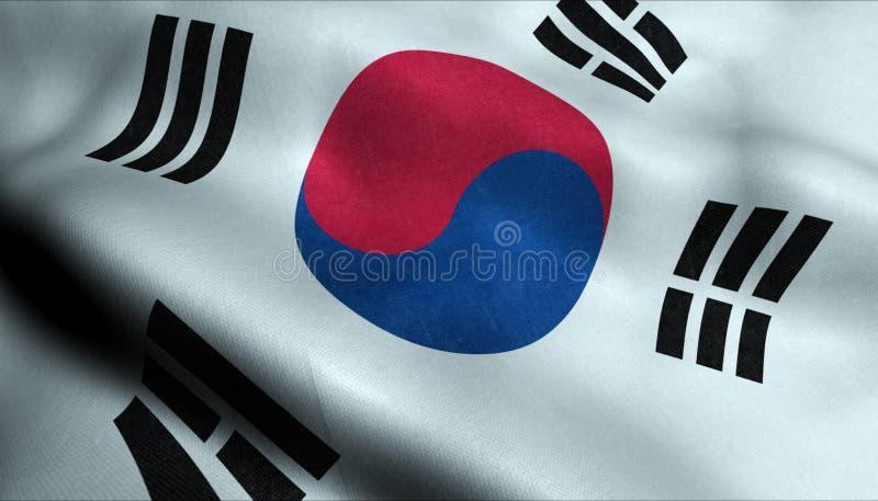 Sydkorea vinkande flagga i 3D royaltyfri illustrationer
