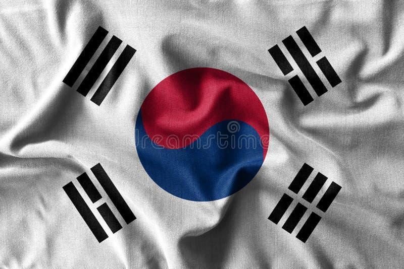 Sydkoreaflaggamålning på den höga detaljen av vågbomullstyger arkivbilder