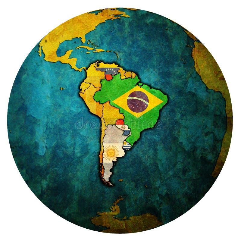 Sydlig gemensam marknad på jordklotöversikt vektor illustrationer