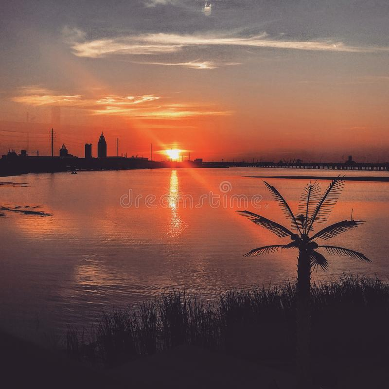 sydlig solnedgång arkivfoto