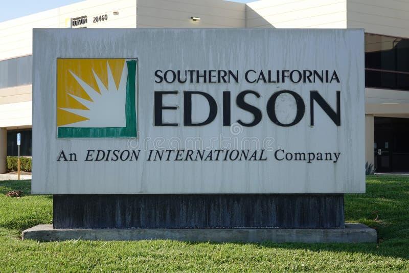 Sydliga Kalifornien Edison Sign i Santa Clarita, Kalifornien, USA royaltyfria foton