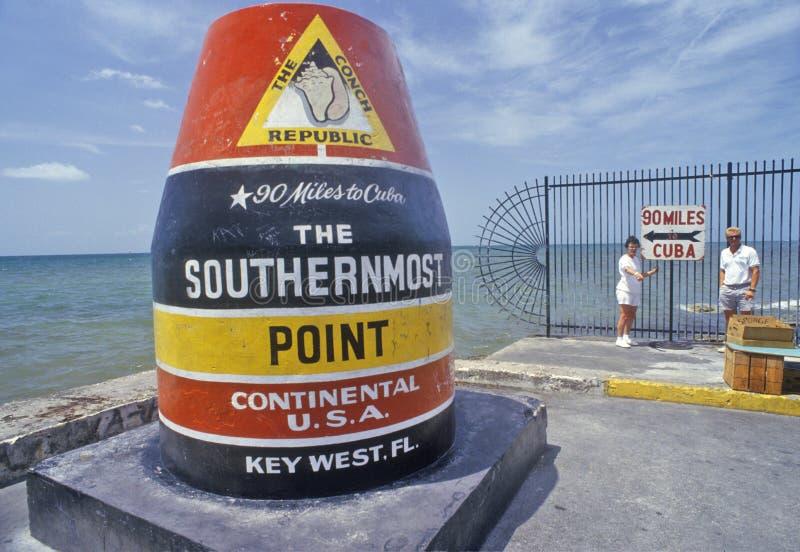 Sydligast punkt av den kontinentala Förenta staterna, Key West, Florida arkivbild