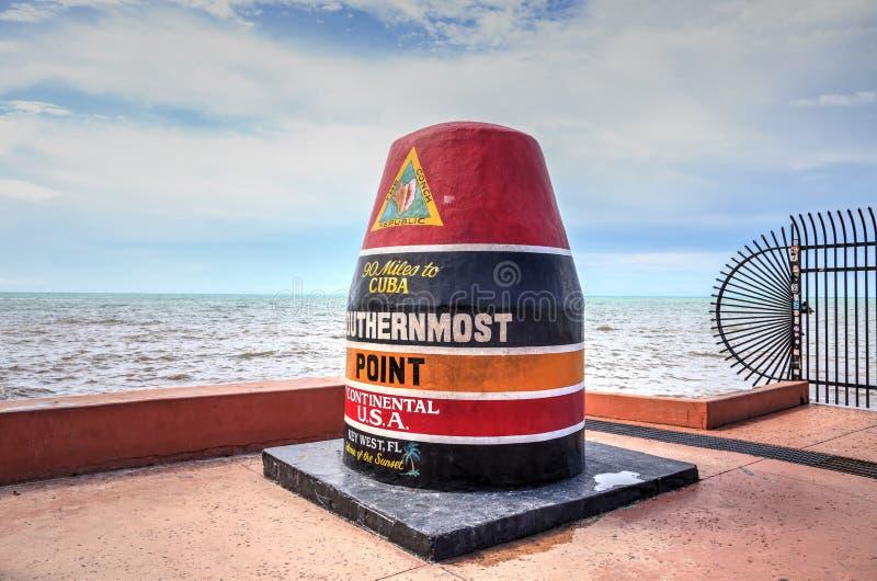 Sydligast punktmonument i Key West, Florida arkivfoto
