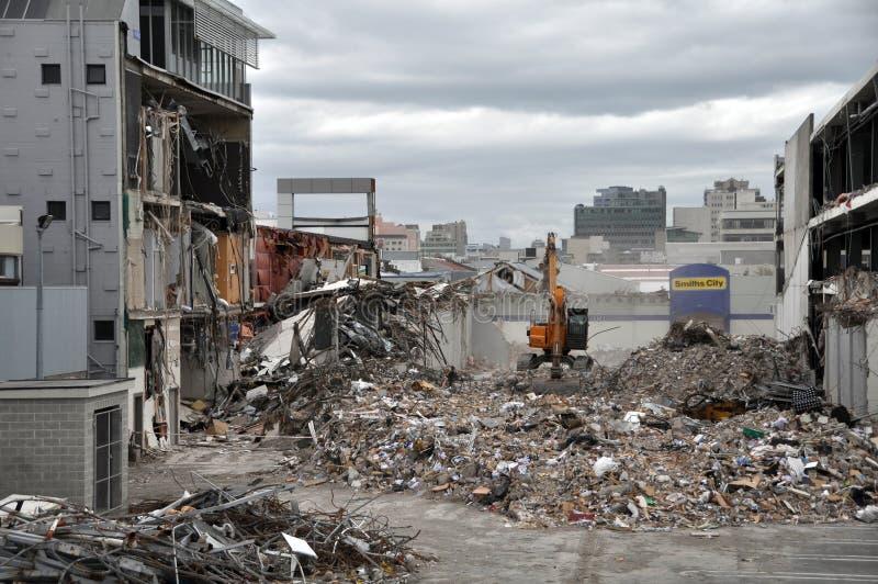 sydligt förstört jordskalv för cbd christchurch royaltyfri fotografi