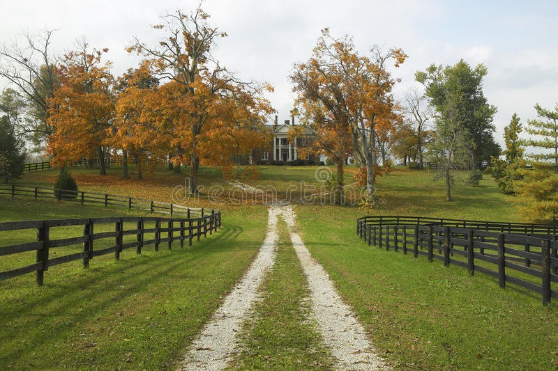 Sydligt hem i historiskt hästland av Lexington Kentucky i höst arkivfoton