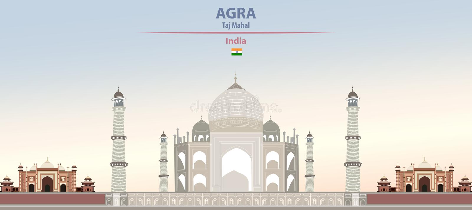 Vector illustration of Taj Mahal in Agra on colorful gradient beautiful daytime background. Vector illustration of Taj Mahal in Agra stock illustration