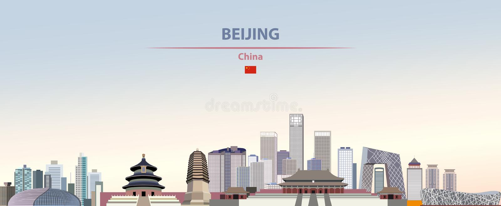 Vector illustration of Beijing city skyline on colorful gradient beautiful daytime background stock illustration