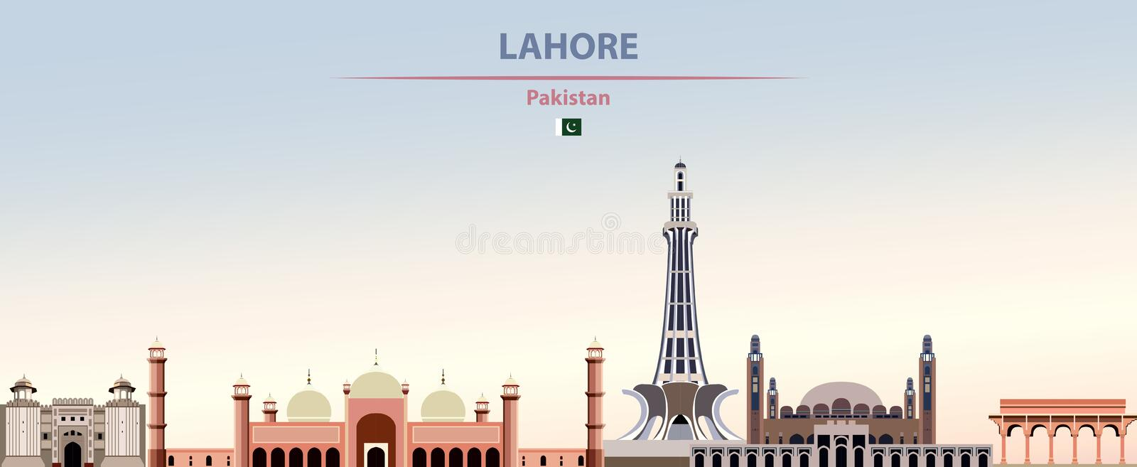 Vector illustration of Lahore city skyline on colorful gradient beautiful daytime background. Vector illustration of Lahore city skyline stock illustration