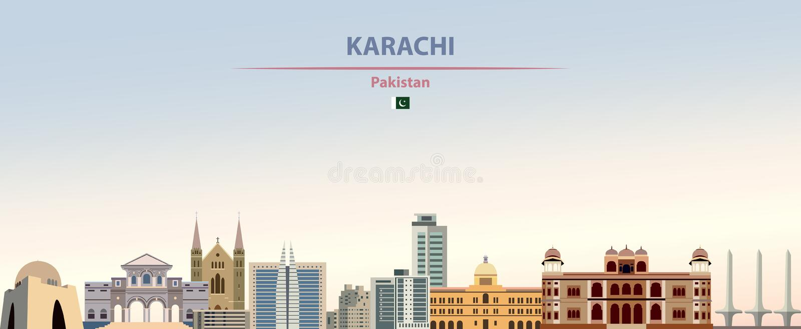 Vector abstract illustration of Karachi city skyline on colorful gradient beautiful daytime background. Vector abstract illustration of Karachi city skyline stock illustration