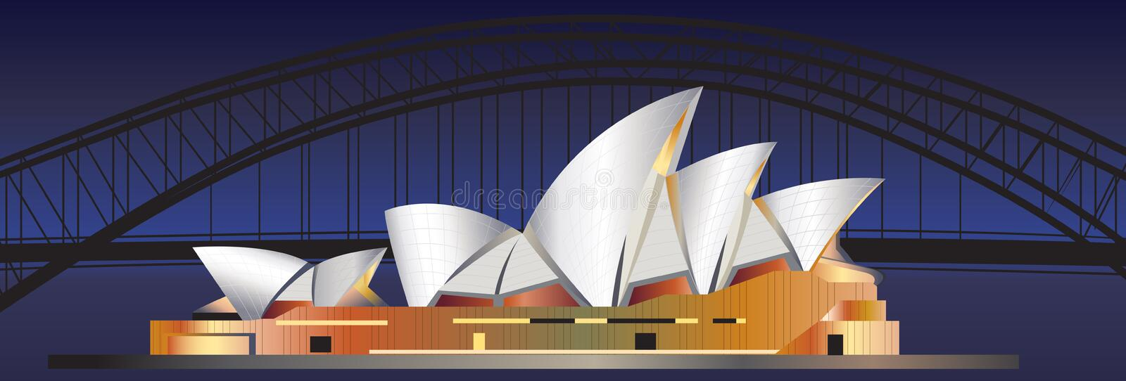 Sydney. Background illustration of Sydney with the opera house and the bridge