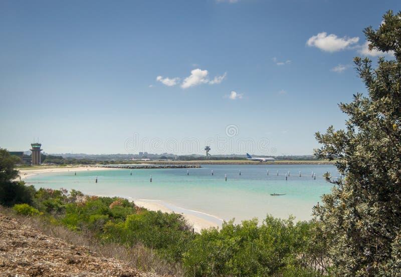 Sydney Airport Runway and Botany Bay, Australia stock photos
