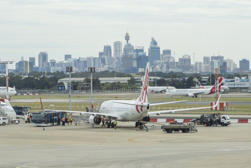 Sydney Airport y CBD foto de archivo