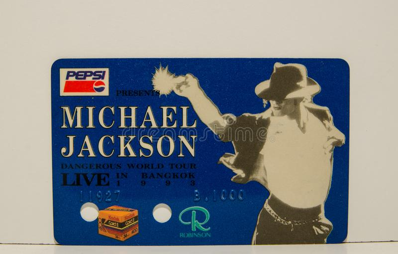 MICHAEL JACKSON Dangerous World Tour Live in Bangkok 1993 King of Pop Cards Ticket concert is Very Rare in blue color. royalty free stock image