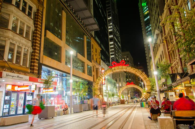 Night photography of Georges street with beautiful Christmas artwork sparkle light installation. SYDNEY, AUSTRALIA. – On December 18, 2017. - Night royalty free stock images