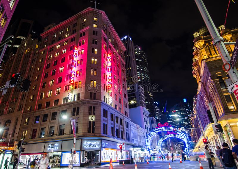 Night photography of Georges street with beautiful Christmas artwork sparkle light installation. SYDNEY, AUSTRALIA. – On December 18, 2017. - Night stock photo