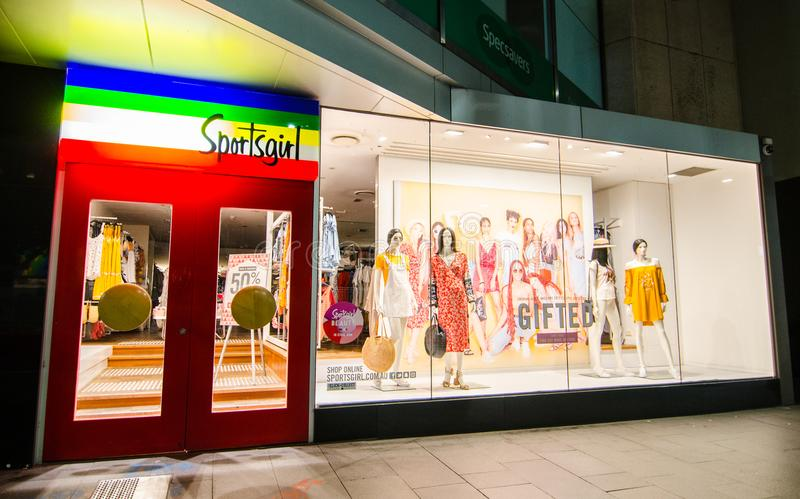 Sportsgirl band women`s clothing and accessories retail store, the image shows shopfront at Sydney Downtown at Night. stock photo