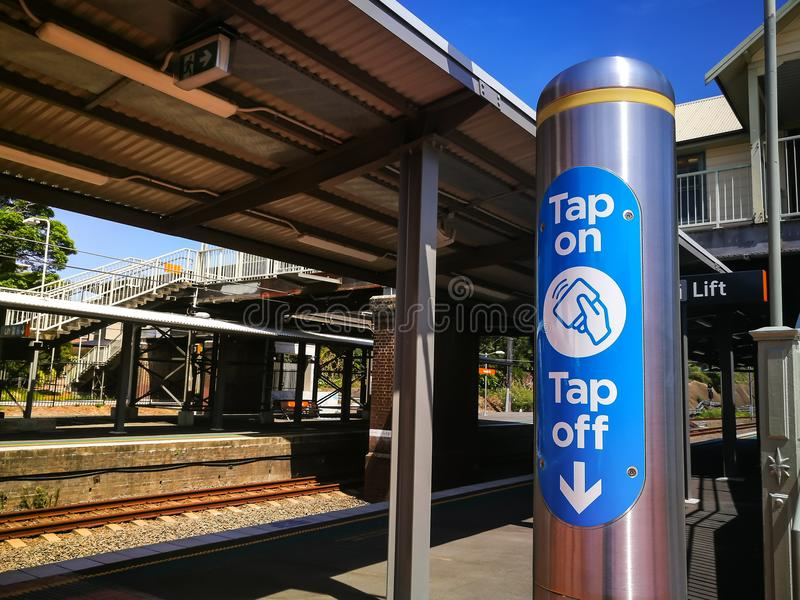 Tap on and Tap off electronic Opal travel card reader at Arncliffe Railway station. SYDNEY, AUSTRALIA – On February 12, 2018. – Tap on and Tap off stock photo