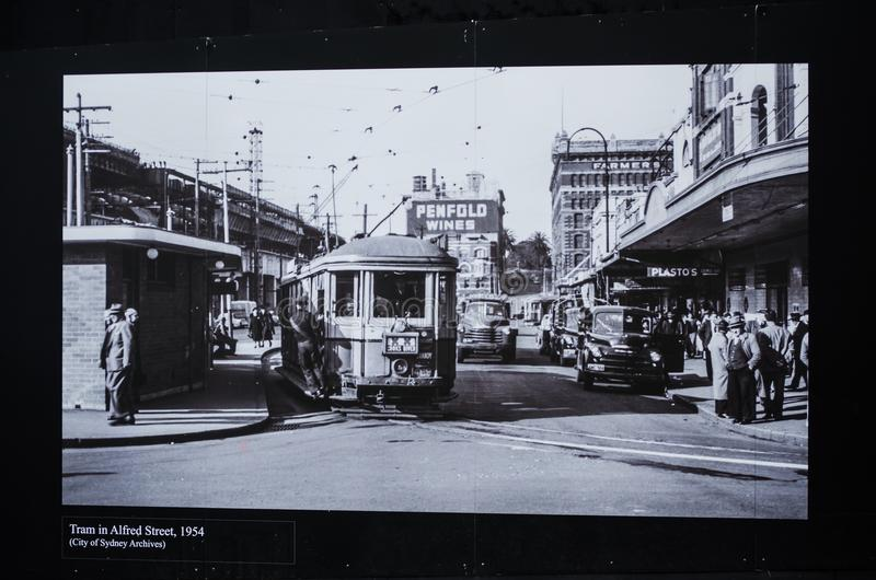 Black and white photography for tram in Alfred street old time , Circa 1954. royalty free stock photos