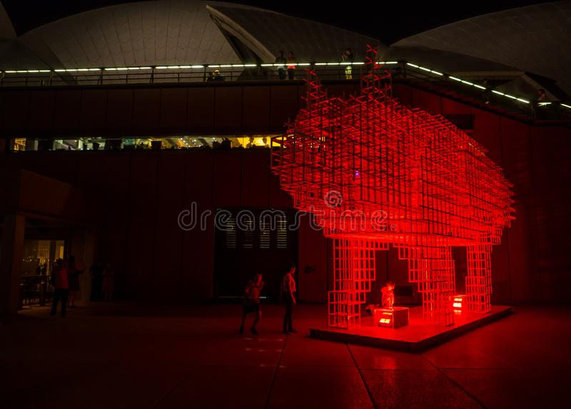 Lunar Lantern `The Pig` is zodiac symbol of Pig will be illuminated from dusk at Circular Quay. royalty free stock photo