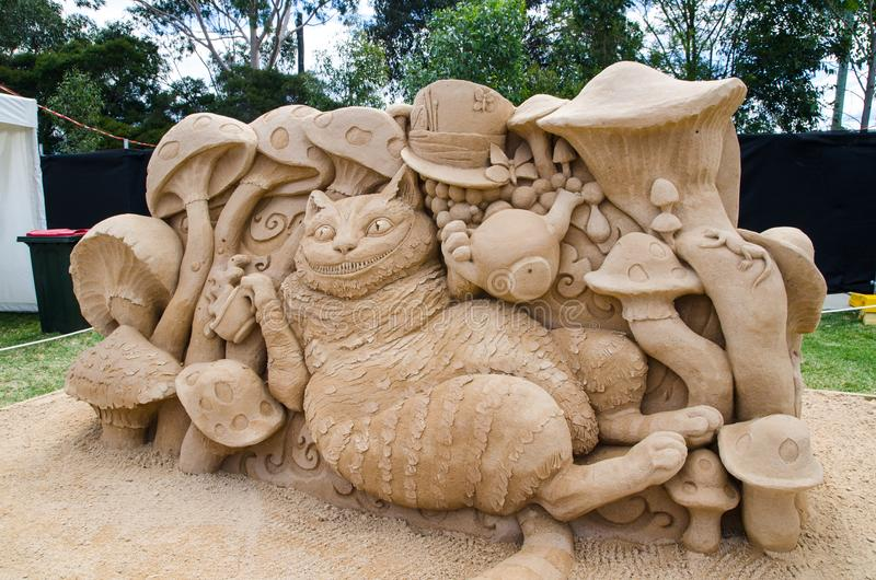 Beautiful Sand Sculpture `Cheshire Cat` in Wonderland exhibition, at Blacktown Showground. SYDNEY, AUSTRALIA – On January 14, 2018. – Beautiful stock photography