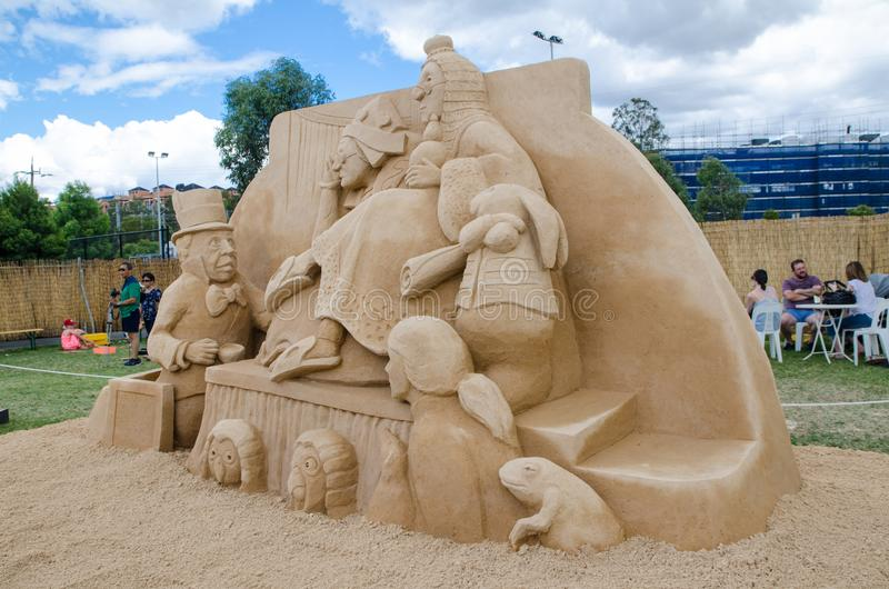 Beautiful Sand Sculpture `Who stole the Tarts` in Wonderland exhibition, at Blacktown Showground. SYDNEY, AUSTRALIA – On January 14, 2018. – royalty free stock image