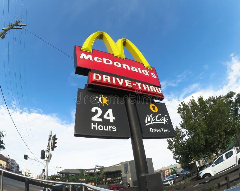 Mcdonald`s 24 Hour drive thru sign. SYDNEY, AUSTRALIA – On January 29, 2018. – Mcdonald`s 24 Hour drive thru sign stock photo