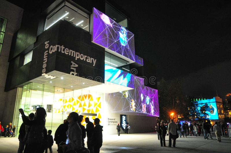 An annual outdoor lighting festival with immersive light installations and projections `Vivid Sydney` stock photos